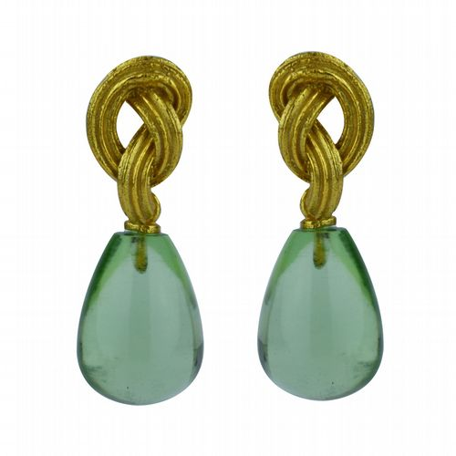 Knot & Drop Earrings Gold & Glass